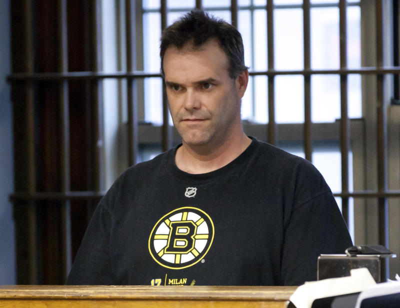 Robert J. Hersey, 43, of Arlington, Mass., is arraigned at the East Boston Division of the Boston Municipal Court Department Wednesday, May 11, 2011.  Hersey allegedly tried to open one of the emergency exits of Delta Flight 1102 during a flight from Orlando to Boston on Tuesday night.  (AP Photo/Aram Boghosian, Pool)