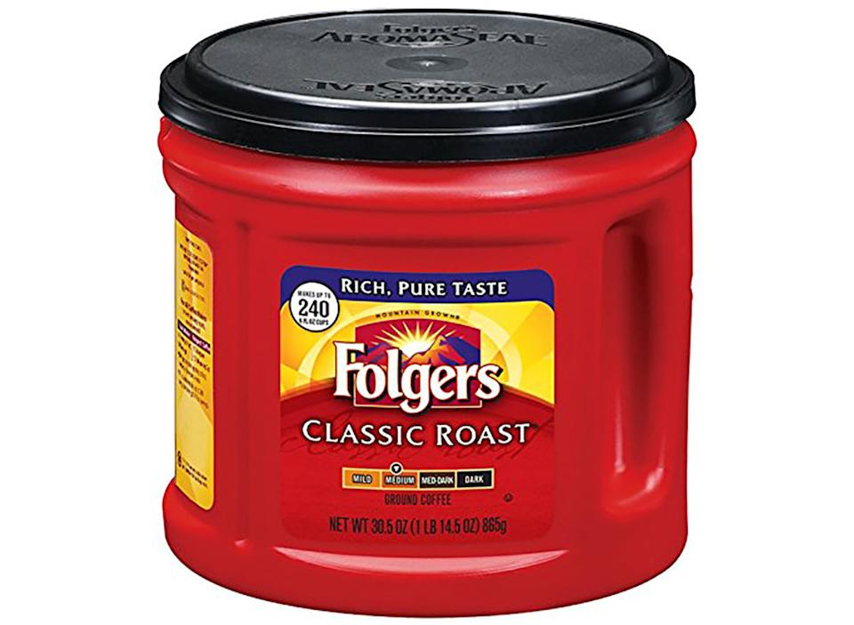 red tub of folgers classic roast ground coffee
