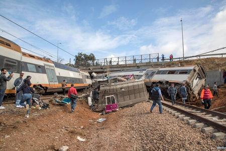 A view of a derailed train at Sidi Bouknadel near the Moroccan capital Rabat, Morocco, October 16, 2018. REUTERS/Youssef Boudlal
