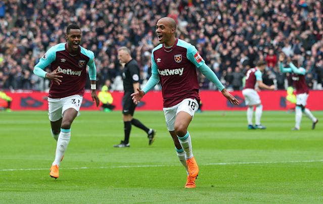 West Ham United's Joao Mario celebrates his opener against Southampton at the London Stadium. (Reuters)