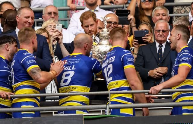 The duke presented the Challenge Cup to Warrington last August (Paul Harding/PA)