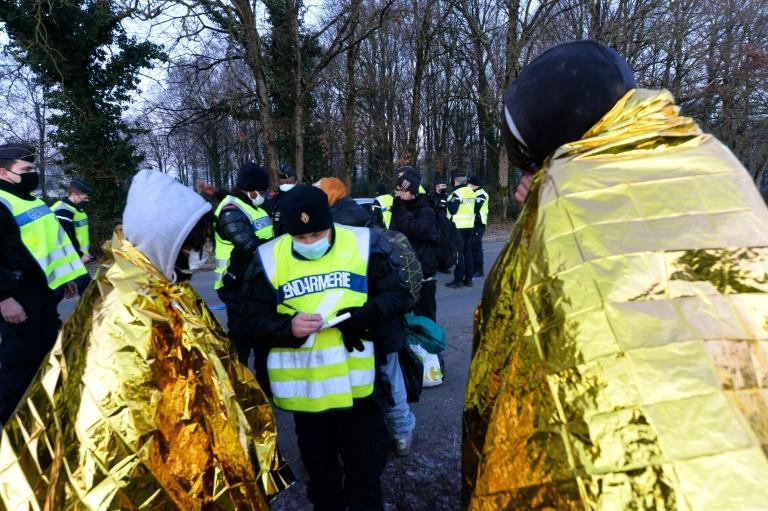 Police were checking all those leaving the site.
