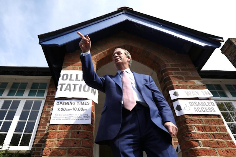 Nigel Farage, pictured after casting his vote at a polling station in Biggin Hill, has benefited from Theresa May's handling of Brexit in a way Change UK hasn't (Dan Kitwood/Getty Images)