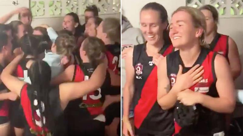 Pictured right, Jamie Howell is blown away by her teammates Auslan rendition of the club's victory song.