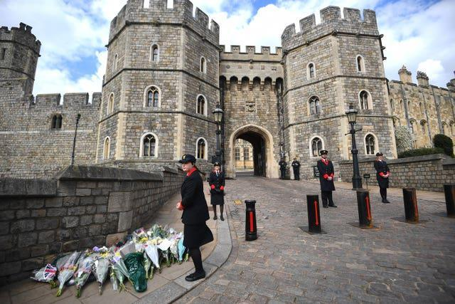 Flowers left outside Windsor Castle, Berkshire (Victoria Jones/PA)