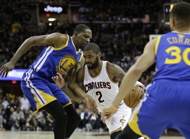 Kyrie Irving hasn't stopped making tough shots this series. (AP)