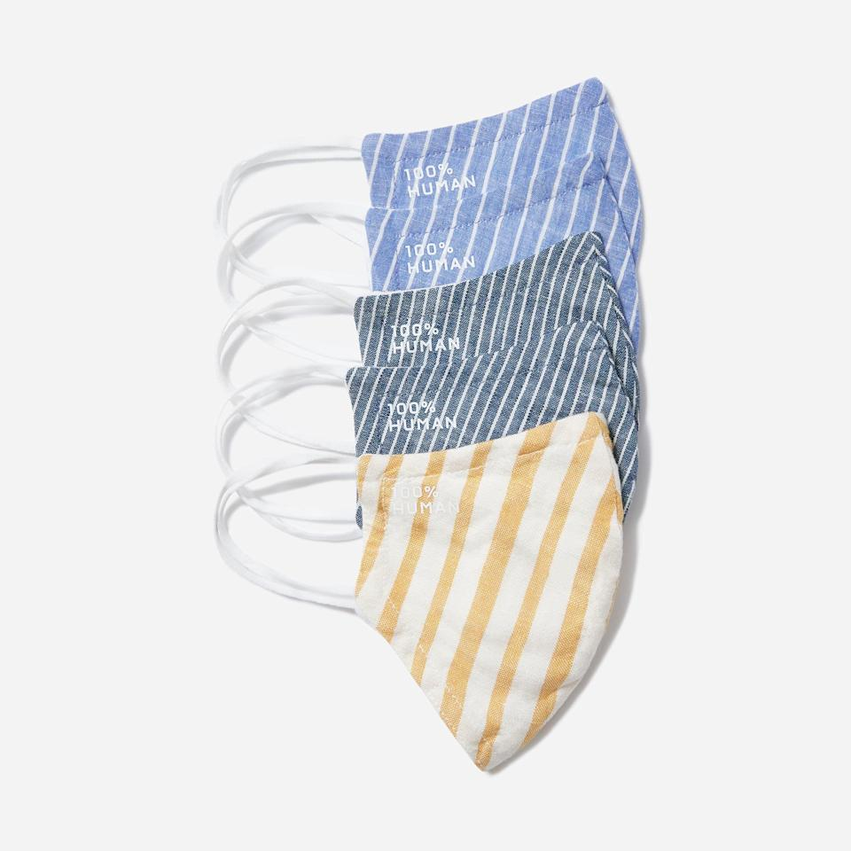 """<p><strong>Everlane</strong></p><p>everlane.com</p><p><strong>$25.00</strong></p><p><a href=""""https://go.redirectingat.com?id=74968X1596630&url=https%3A%2F%2Fwww.everlane.com%2Fproducts%2Funisex-woven-mask-5-striped&sref=https%3A%2F%2Fwww.cosmopolitan.com%2Fstyle-beauty%2Ffashion%2Fg33372005%2Fbreathable-face-masks%2F"""" rel=""""nofollow noopener"""" target=""""_blank"""" data-ylk=""""slk:Shop Now"""" class=""""link rapid-noclick-resp"""">Shop Now</a></p><p>Everlane's masks are the definition of summer made from a linen-blend material and covered in cool stripes.</p>"""