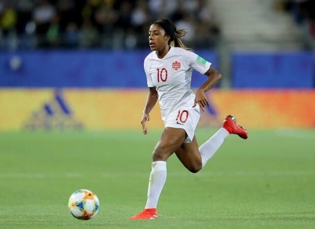 Canada defender Ashley Lawrence of Brampton, Ont., told reporters Thursday the team is ready for its upcoming pair of U.K.-based friendlies against Wales and England. (Elsa/Getty Images - image credit)