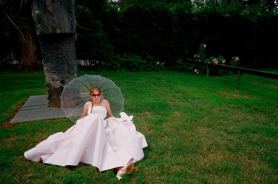 Maya Hawke wears a strapless gown and white heels from Zac Posen's SS19 collection.(Photo: Courtesy of Zac Posen)