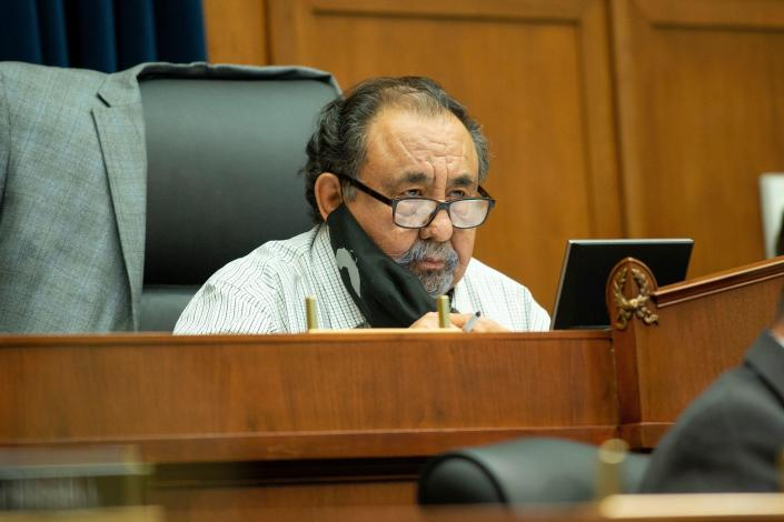 House Natural Resources Committee Chairman Raul Grijalva (D-Ariz.) is seen on Capitol Hill in Washington, DC, on June 29, 2020. / Credit: BONNIE CASH/POOL/AFP via Getty Images