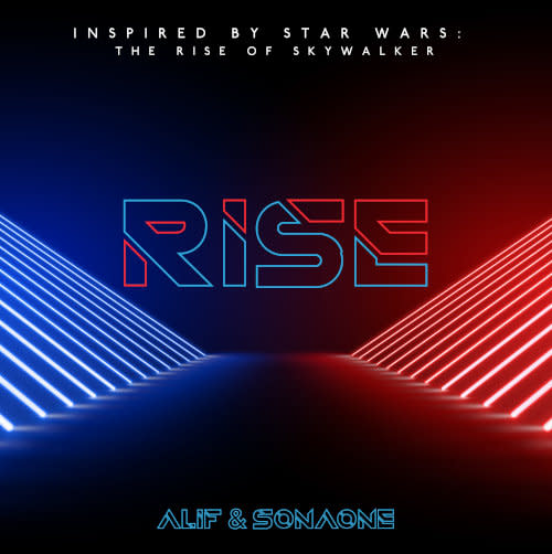 Check out the lightsaber-themed cover art for the song.