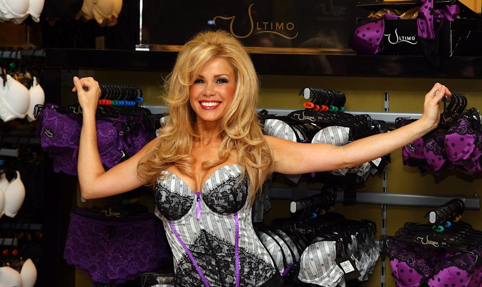 LONDON - DECEMBER 05: Model Melinda Messenger launches the new ULTIMO 'Shop In Shop' at Debenhams at Westfield shopping centre on December 5, 2008 in London, England. (Photo by Gareth Cattermole/Getty Images)
