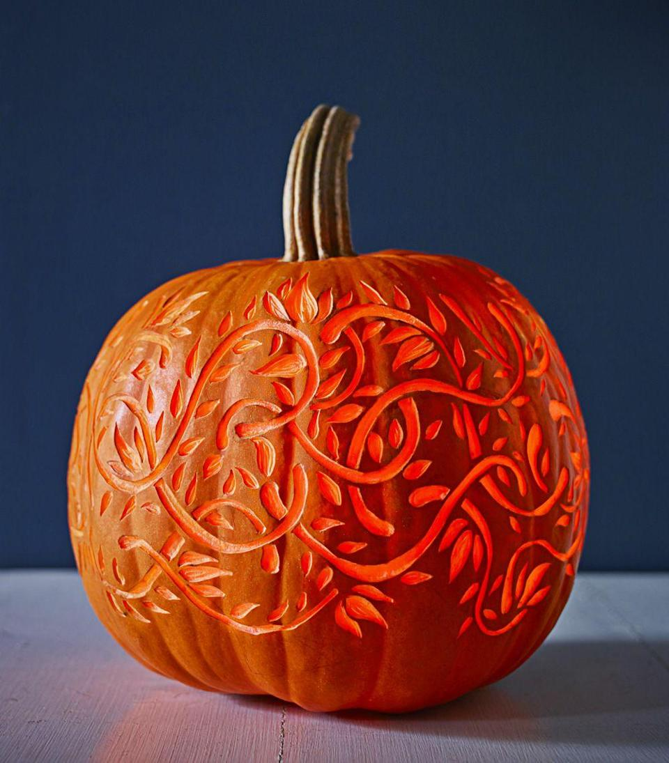 <p>Here's a pro trick for nailing this glowing 3D effect: Use a lemon zester, clay loop, or linoleum cutter to carve into — but not through — the top layer of pumpkin skin. </p>