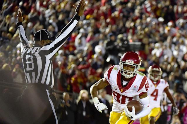 Deontay Burnett caught the game-tying touchdown with 80 seconds left. (Getty)