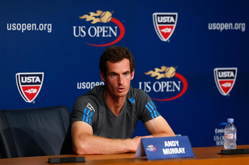 Andy Murray of Great Britain talks to the media during previews for the US Open at USTA Billie Jean King National Tennis Center on August 23, 2014 in New York City (AFP Photo/Julian Finney)
