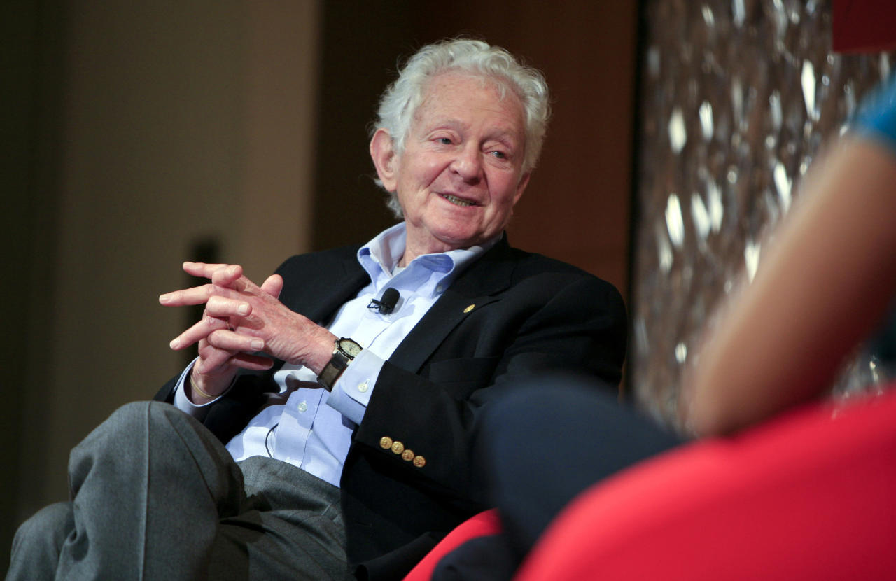 "Nobel Prize winning physicist Leon Lederman speaks at the panel discussion ""Pioneers in Science"" at the World Science Festival held at The Graduate Center, Proshansky Auditorium, CUNY on May 29, 2008 in New York City.  (Photo by Amy Sussman/Getty Images for World Science Festival)"