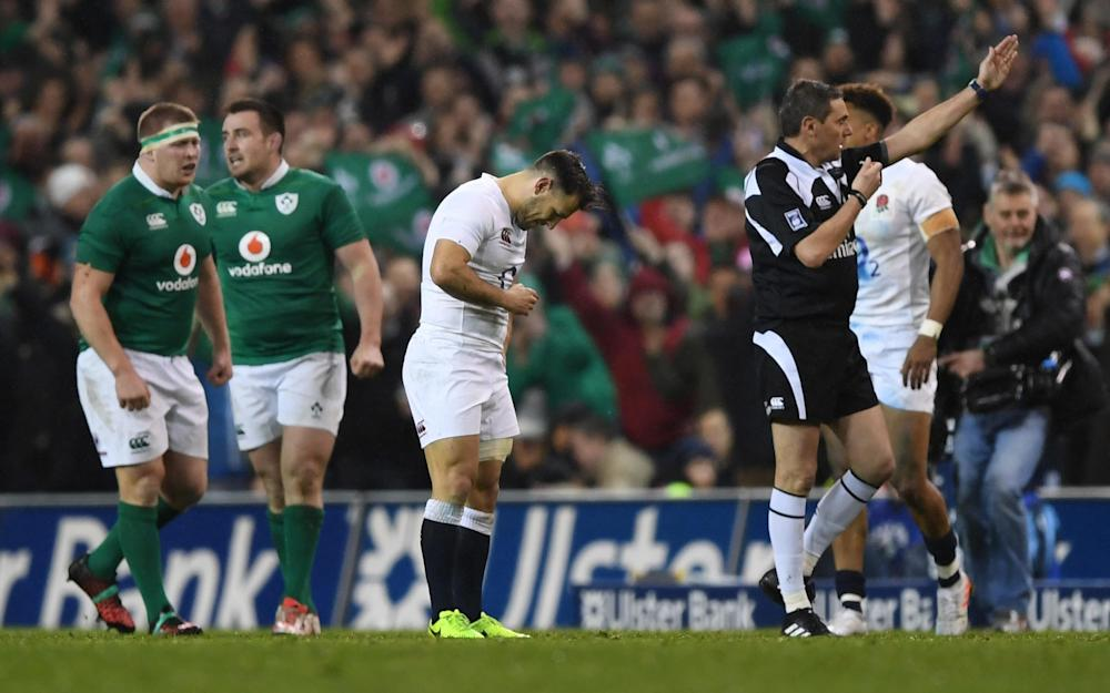A dejected Danny Care of England reacts as Referee Jerome Garces of France blows the final whistle  - Credit: GETTY
