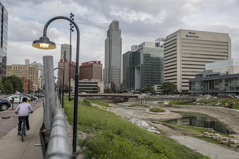 Downtown Omaha where a city center park and lagoon known as Gene Leahy Mall is under reconstruction.