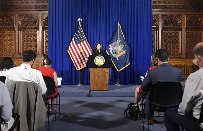 New York Lt. Gov. Kathy Hochul gives a news conference at the State Capitol, Wednesday, Aug. 11, 2021 in Albany, N.Y. Hochul is preparing to take the reins of power after Gov. Andrew Cuomo announced he would resign from office. (AP Photo/Hans Pennink)
