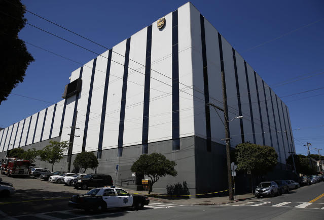 <p>A police patrol car blocks a street outside a United Parcel Service (UPS) facility after a shooting incident was reported in San Francisco, California, June 14, 2017. (Stephen Lam/Reuters) </p>