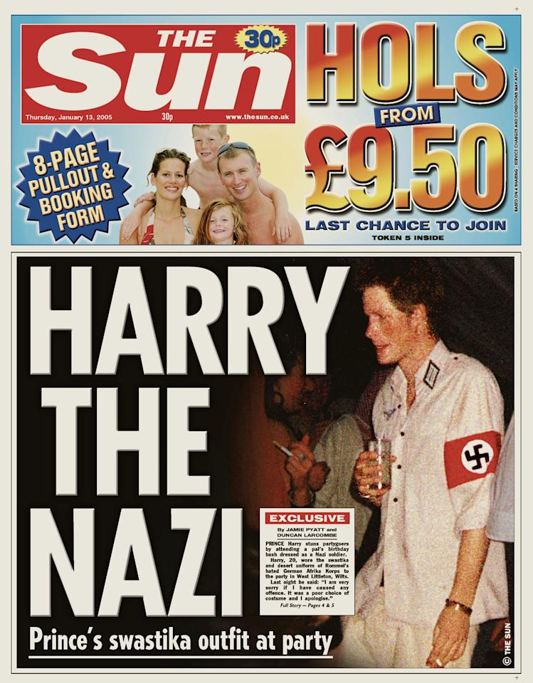<p>Quick — hide this from Meghan Markle! In 2005, a 21-year-old Prince Harry went to a costume party dressed as a Nazi — swastika and all. And, yes, he publicly apologized, too. (Photo: Reuters) </p>
