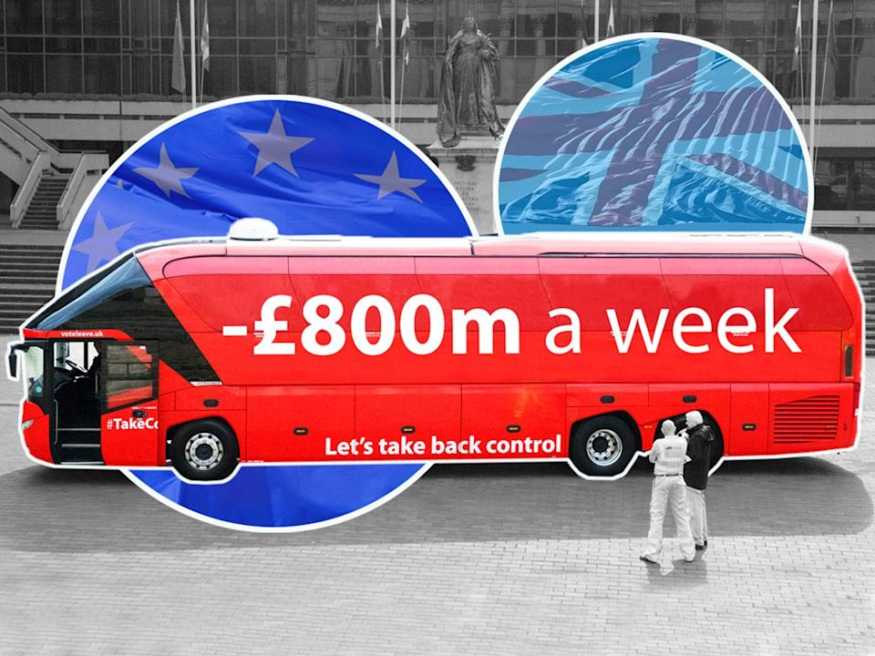 Vote Leave highlighted the cost of the UK's EU budget contributions – but studies indicate the damage from the Brexit vote had already cost the UK economy between £400m and £800m a week by the end of 2019 (Getty/The Independent)