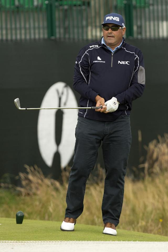 Argentina's Angel Cabrera watches a shot off the 4th tee during a practice round at Royal Liverpool Golf Club prior to the start of the British Open Golf Championship, in Hoylake, England, Monday, July 14, 2014. The 2014 Open Championship starts on Thursday, July 17. (AP Photo/Jon Super)