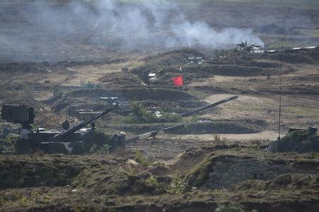 A view shows turrets of armoured vehicles during the Zapad-2017 war games in Belarus