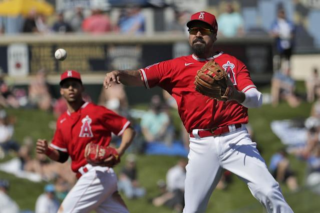 """Fans will have to wait until next year to see Anthony Rendon's Angel Stadium debut if a 2020 MLB season doesn't come to fruition. <span class=""""copyright"""">(Matt York / Associated Press)</span>"""