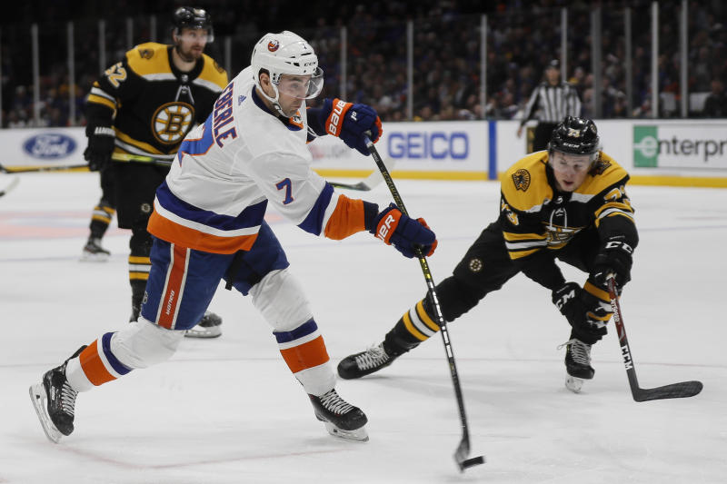 New York Islanders right wing Jordan Eberle (7) takes a shot on goal during the second period an NHL hockey game against the Boston Bruins, Saturday, Feb. 29, 2020, in Uniondale, NY. (AP Photo/John Minchillo)