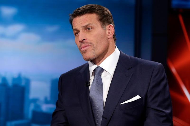 """Tony Robbins, motivational speaker, personal finance instructor, and self-help author, is interviewed during the taping of """"Wall Street Week,"""" on the Fox Business Network, in New York Thursday, March 17, 2016. (AP Photo/Richard Drew)"""