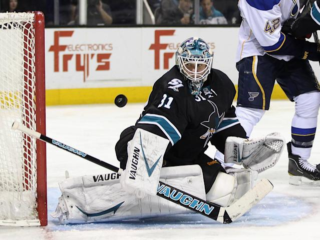 SAN JOSE, CA - APRIL 19: Antti Niemi #31 of the San Jose Sharks makes a save against the St. Louis Blues in Game Four of the Western Conference Quarterfinals during the 2012 NHL Stanley Cup Playoffs at HP Pavilion on April 19, 2012 in San Jose, California. (Photo by Ezra Shaw/Getty Images)
