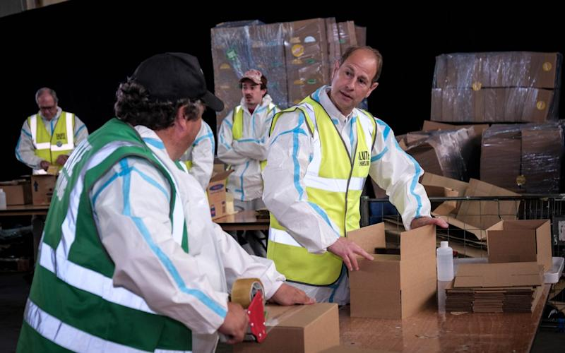 Prince Edward, the Earl of Wessex, helping pack meal parcels for NHS workers at the SaluteTheNHS - Adrian Wroth