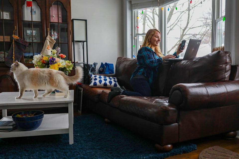 Katie Monaghan, 27, of Royal Oak, Mich., created three regional vaccine hunters Facebook group pages to help eligible Michiganders find and schedule COVID-19 vaccine appointments while working from home.