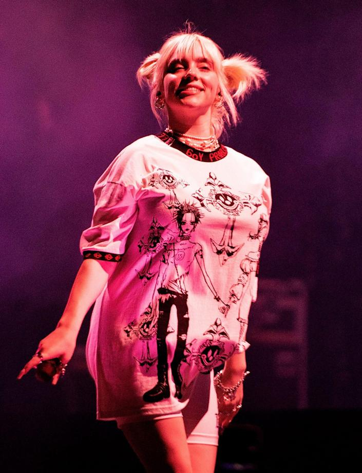 <p>Billie Eilish cracks a smile on Sept. 19 while performing at the Life Is Beautiful festival in Las Vegas. </p>