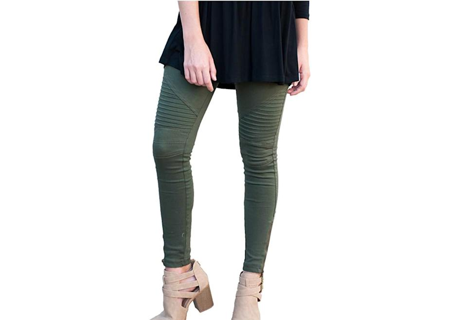 Tickled Teal Women's Moto Jegging. (Photo: Amazon)