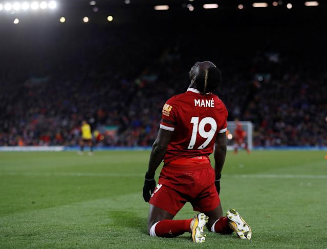 "Soccer Football - Premier League - Liverpool vs Watford - Anfield, Liverpool, Britain - March 17, 2018 Liverpool's Sadio Mane Action Images via Reuters/Lee Smith EDITORIAL USE ONLY. No use with unauthorized audio, video, data, fixture lists, club/league logos or ""live"" services. Online in-match use limited to 75 images, no video emulation. No use in betting, games or single club/league/player publications. Please contact your account representative for further details."