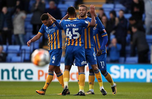 Soccer Football - FA Cup First Round - Shrewsbury Town vs Aldershot Town - New Meadow, Shrewsbury, Britain - November 4, 2017 Shrewsbury Town's Carlton Morris celebrates scoring their fifth goal with team mates Action Images/John Clifton