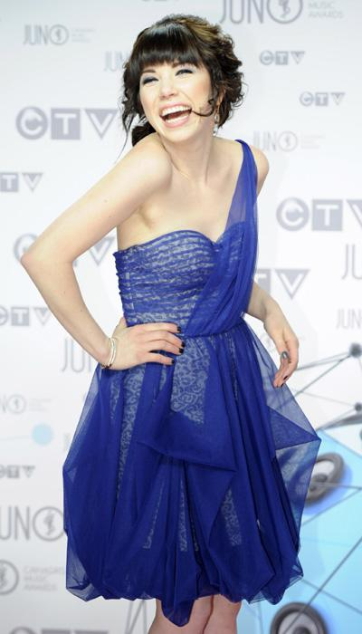 Carly Rae Jepsen is pretty in a blue one-shouldered dress with a leopard print hidden underneath swaths of tulle. THE CANADIAN PRESS/Sean Kilpatrick