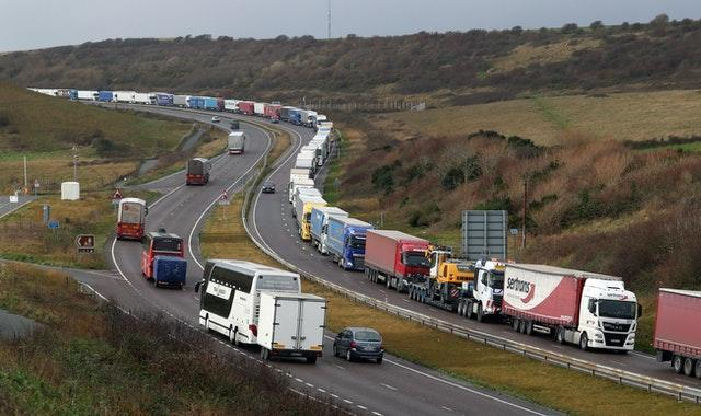 Lorries queue on the A20