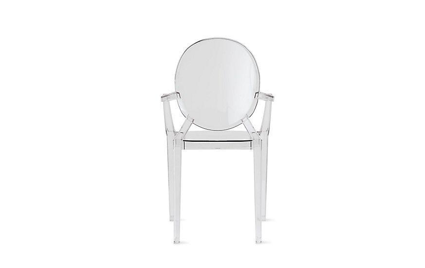 """<p><strong>Philippe Starck</strong></p><p>dwr.com</p><p><strong>$465.00</strong></p><p><a href=""""https://go.redirectingat.com?id=74968X1596630&url=https%3A%2F%2Fwww.dwr.com%2Fdining-chairs-and-stools%2Flouis-ghost-chair%2F1872.html%3Flang%3Den_US&sref=https%3A%2F%2Fwww.redbookmag.com%2Fbeauty%2Fg37132432%2Fchair-types-styles-designs%2F"""" rel=""""nofollow noopener"""" target=""""_blank"""" data-ylk=""""slk:Shop Now"""" class=""""link rapid-noclick-resp"""">Shop Now</a></p><p>Now you see it...now you don't. In 2002, designer Philippe Starck put his own spin on the Louis XVI armchair, rendering it in clear polycarbonate for Kartell. The design—which is offered both as an armchair and without arms—became an instant sensation...and spurred dozens of knockoffs. </p>"""