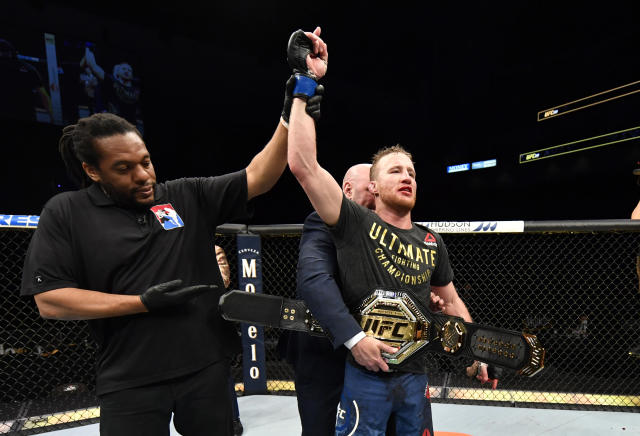 JACKSONVILLE, FLORIDA - MAY 09: Justin Gaethje celebrates after his TKO victory over Tony Ferguson in their UFC interim lightweight championship fight during the UFC 249 event at VyStar Veterans Memorial Arena on May 09, 2020 in Jacksonville, Florida. (Photo by Jeff Bottari/Zuffa LLC)