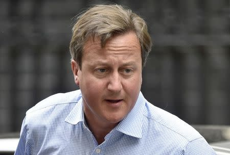 Britain's Prime Minister David Cameron arrives in Downing Street in central London