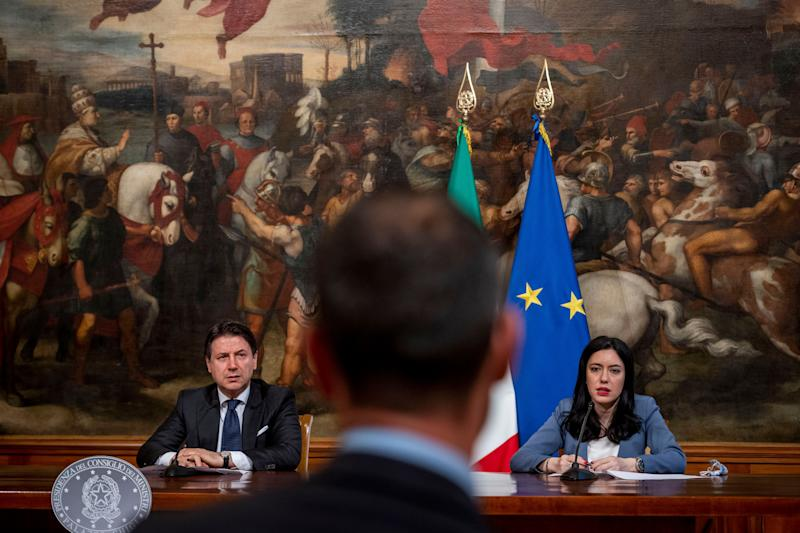 ROME, ITALY - JUNE 26: Italian Prime Minister Giuseppe Conte and Education Minister Lucia Azzolina hold a press conference to present the guidelines for the reopening of schools in September under safety conditions at Palazzo Chigi on June 26, 2020 in Rome, Italy. An agreement was reached today between the government, regions, provinces, and municipalities for a planned reopening of Italian schools on September 14th. (Photo by Antonio Masiello/Getty Images) (Photo: Antonio Masiello via Getty Images)
