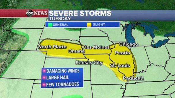 PHOTO: Severe storms will move into the Midwest from South Dakota, to Minnesota, Iowa and Wisconsin. (ABC News)