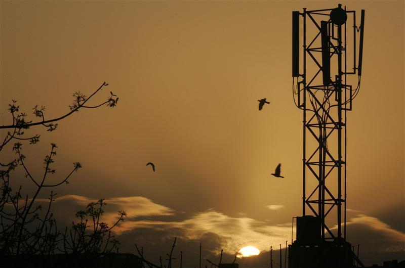 The sun rises behind a communications tower in New Delhi
