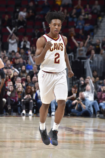 CLEVELAND, OH - MARCH 18: Collin Sexton #2 of the Cleveland Cavaliers reacts to hitting shot against the Detroit Pistons on March 18, 2019 at Quicken Loans Arena in Cleveland, Ohio. (Photo by David Liam Kyle/NBAE via Getty Images)