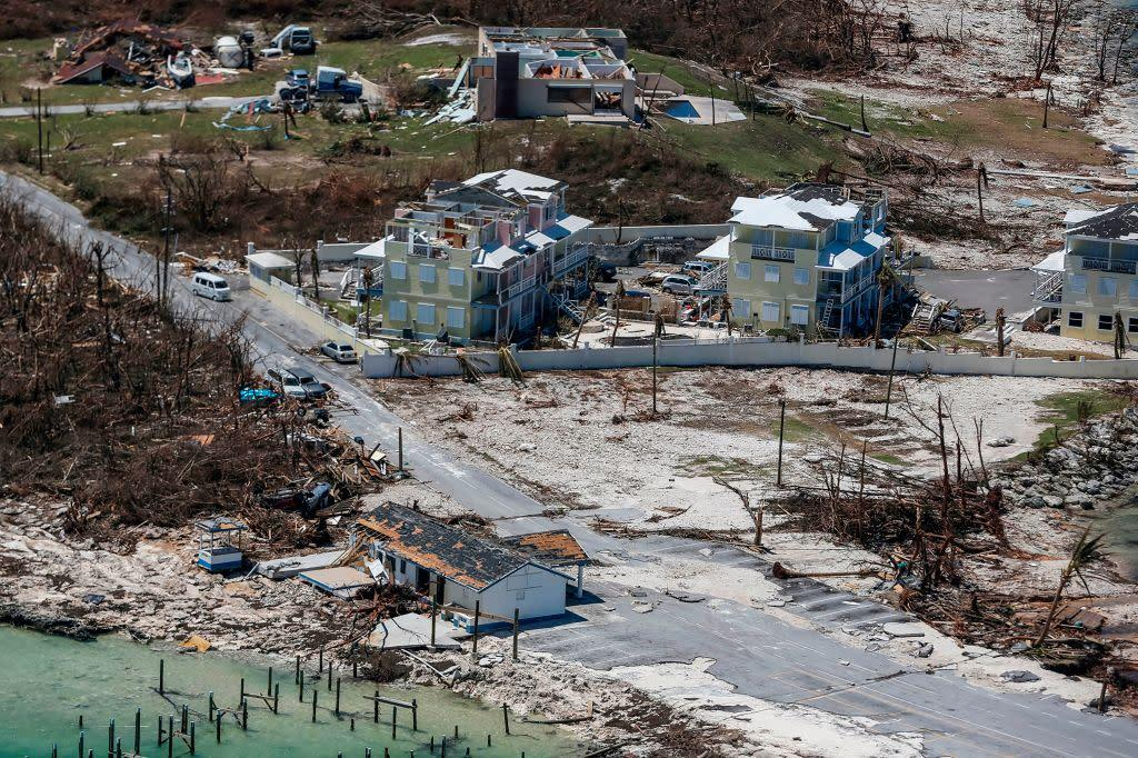 An aerial view of floods and damages from Hurricane Dorian on Great Abaco Island on Sept. 5, 2019. | ADAM DELGIUDICE—AFP/Getty Images