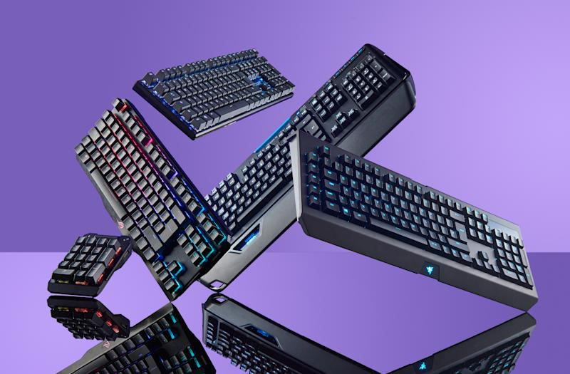 A group of mechanical PC keyboards, including an Asus ROG Claymore, Logitech Orion Spark G910, Razer Blackwidow Chroma V2 and a Cooler Master MasterKeys Pro L, taken on July 3, 2017. Photo: Neil Godwin/PC Gamer Magazine/Future via Getty Images