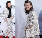 <p>In one of his earlier wonky suit outings, Harry wore this floral, wide-legged Gucci suit to the 2015 American Music Awards. Consider it a watershed moment for his sartorial adventurousness. </p>